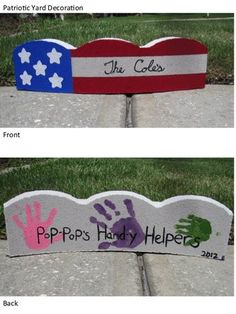 Yard Decoration: One Pinner Writes...... Used a concrete tree ring and exterior craft paint from walmart.  Pressed the grandkids hand-prints on the back.  Made one for each of the grandpas and they both loved them!  Now everyone in the family wants one.