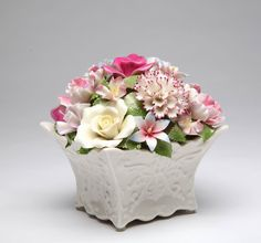 Cosmos Gifts 80085 Fine Porcelain Flower Bouquet with Music Box: Bouquet Tune:Edelweiss Size: 5 x x 4 Porcelain Jewelry, Fine Porcelain, Porcelain Ceramics, Porcelain Tile, Fairy Music, Ceramic Flowers, Flower Basket, Hand Painted Ceramics, Music Boxes