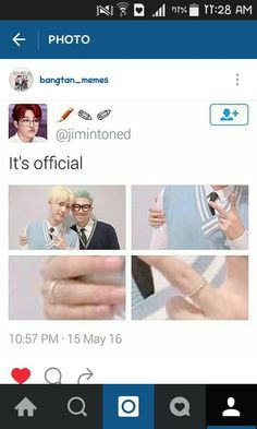 "Namjin! ❤....its funny because I read the ""It's official"" but looked at another pin and it was a Baekyeol pin *sigh* kpop"