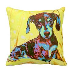 yellow pop art dachshund pillows