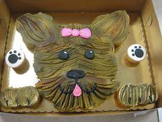 Yorkie Dog Cake With Printable Template Tutorial Photos Puppy Cupcakes, Hello Kitty Cupcakes, Ladybug Cupcakes, Snowman Cupcakes, Animal Cupcakes, Cute Cupcakes, Giant Cupcakes, Birthday Cupcakes, Dog Birthday