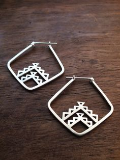 Aztec triangle hoop earrings - sterling silver geometric tribal hoop earrings by AThousandJoys on Etsy