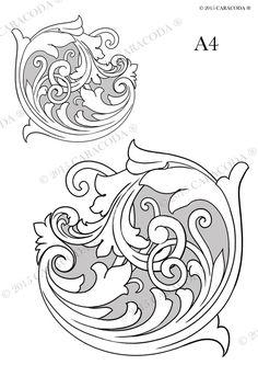 Leathercraft tooling pattern Scroll A4 001