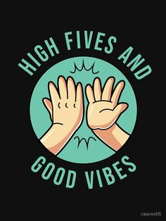 'High Fives and Good Vibes - Cute Design for Positive Vibes' T-Shirt by Alien Drawings, Space Drawings, Shirt Print Design, Tee Design, High Five, Good Vibes, Alien Tattoo, Chest Piece Tattoos, Photocollage