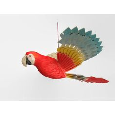 Wooden Bird Mobile Parrot Wood Carving, Hand Carved Scarlet Macaw, Handmade Fan Bird Hanging Art Ornament, Kids Room Decor, Birthday Gift ($50) found on Polyvore