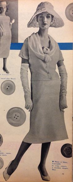 Christian Dior- 1957 White drape neck blouse and skirt ensemble. Elle Collections Printemps  March 4, 1957