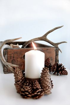 DIY Pine Cones Candle Holder - 10 Inspiring DIY Decor Ideas with Pinecones | GleamItUp
