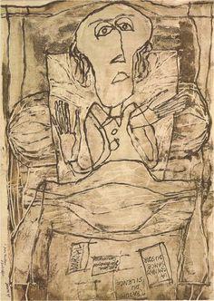 Joe Bousquet au lit, par Jean Dubuffet
