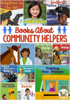 Community Helpers Books for Preschoolers. Over 60 Community helpers books to read. Best community helper books for Pre-K and Kindergarten. A book list featuring community helpers. List Of Community Helpers, Community Helpers Pictures, Community Helpers Activities, Community Helpers Kindergarten, Preschool Literacy, Preschool Books, Preschool Projects, Communities Unit, Community Workers