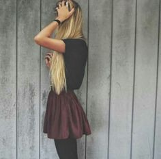 black tee, maroon skater skirt, black tights or leggings. simple, edgy, comfy, casual, basic, skater, hangout, spring or fall outfit.