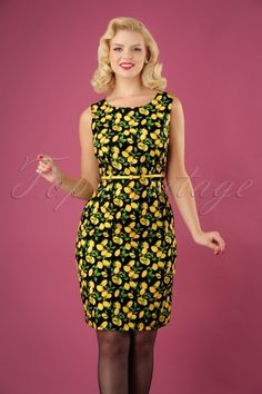 999616da99d Smashed Lemon Black and Yellow Lemon Dress 25605 20180724 01W