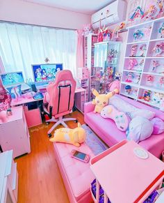 Cute Bedroom Decor, Bedroom Setup, Room Design Bedroom, Room Ideas Bedroom, Kawaii Bedroom, Otaku Room, Cute Room Ideas, Gaming Room Setup, Game Room Design