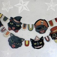 Halloween Black Cat Banner Garland Bunting by cartbeforethehorse, $12.00