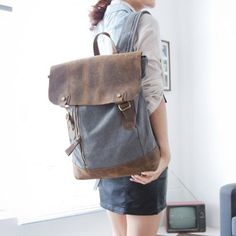 "12.2""x16.9"" Grey  Canvas-Leather  Backpack/ Canvas backpack/Handmade bag"