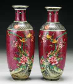 Pair of Chinese Antique Famille Rose Porcelain Vases: both with 'Yongzheng' reign marks painted in cobalt blue on the bases and probably of the period; Size: H: 8-1/4""