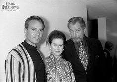 Joan Bennett backstage on the set of NBC's Hollywood Squares, taken on September 13, 1970. Joan was appearing on the much-loved game show to promote the release of House of Dark Shadows.  Joan is seen pictured with panelist Bill Reynolds and her good friend, horror legend Vincent Price