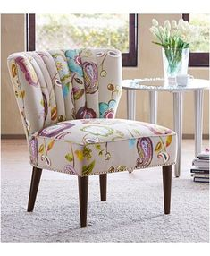Furniture Lindley Floral Fabric Accent Chair & Reviews - Chairs - Furniture - Macy's Upholstery Trim, Furniture Upholstery, Upholstery Cleaning, Upholstery Cushions, Furniture Refinishing, Living Room Chairs, Living Room Decor, Dining Rooms, Modern Chairs