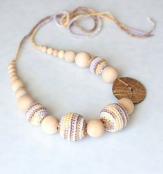 Cotton Nursing Teething necklace with coconut button, Brown Yellow Lavender White Nursing Breastfeeding necklace, Sling nursing necklace, Teething