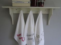 Set of 3 flour sack tea towels with kitchen centric reminders by @Cory Blyth Ettiene on etsy.
