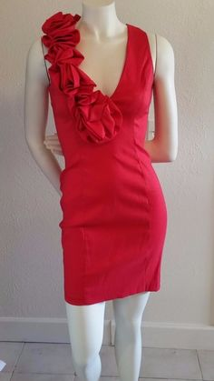 Sexy Red Cocktail Party Dress Plunging Neckline Cache Unique Size 4 | eBay