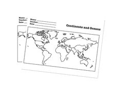 Maps - Continents/Oceans Worksheet - Label the continents and oceans of the globe. Download from Fellowes® Idea Center and laminate.
