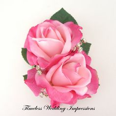 Hot Pink Corsage Roses Bling Crystals Wedding by TimelessWedding, $33.00