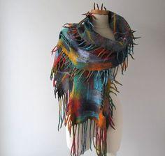 Felted scarf colorful Wool felt scarf fringe scarf by galafilc