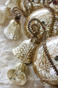 Details of Vintage Silver Glass Tree Topper