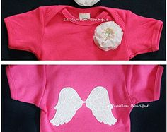Infant/Baby Girls Angel Wings Church Onesie/Body Suit/Creeper SET White Angel Wings on Back-Cross Flower Pearls SET Ruffle Flower Headband