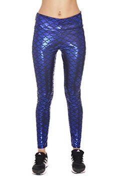 Women Slim Mermaid Fish Scale Shiny Stretch Printed Leggings 7c0af1a8751f