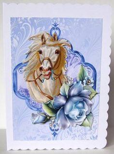 Palamino White Horse, with Blue Roses - CraftsuPrint