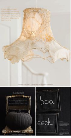 Another doily lamp...I love these and MUST make one.  Also love any reference to Halloween...