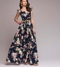 a20bddfc58 Summer 2018 New Maxi Dress for Women Ruffled Elegant Beauty Printed Floral  Navy Blue Maxi Dress