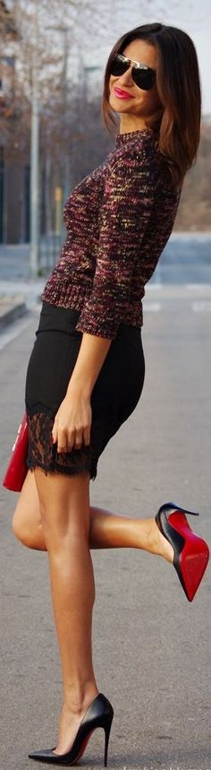 Love the skirt and sweater.