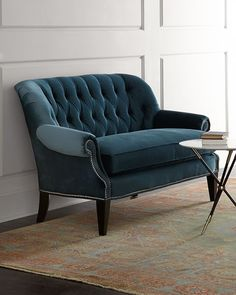 Shop Monica Tufted Settee at Horchow, where you'll find new lower shipping on hundreds of home furnishings and gifts. Teal Furniture, City Furniture, Online Furniture, Furniture Stores, Retro Furniture, Handmade Furniture, Furniture Plans, Rustic Furniture, Teal Couch