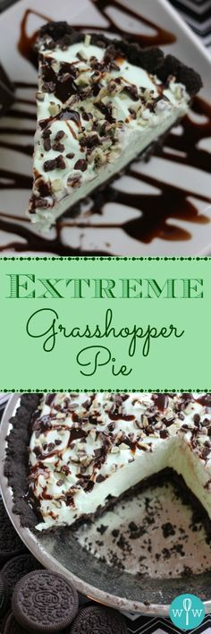 Extreme Grasshopper Pie - A great holiday or anytime frozen dessert recipe! A chocolate cookie crust topped with mint chocolate ganache, a fluffy creme de menthe filling and chocolates. | www.worthwhisking...