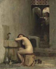 """""""Repos au bain"""" by Theodore Jacques Ralli - Greek painter, School of French Academy, orientalist Pablo Picasso, Oriental, Greek Art, Traditional Paintings, Our Lady, Figure Painting, Erotic Art, Figurative Art, Art Google"""