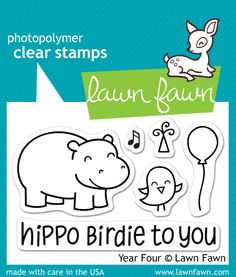 "Lawn Fawn """"Year Four"""" Clear Stamp Set"