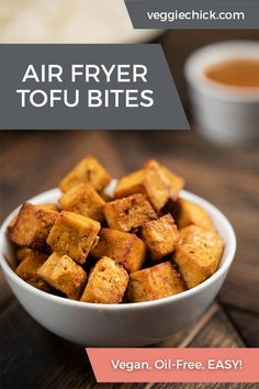 This recipe for Air Fryer Tofu is easy to make, requiring just 7 simple ingredients. It's much healthier than fried tofu, but just as crunchy and golden. It's also super versatile, and goes well with many flavor combinations, as well as a variety of dips and sauces. #vegantofu #airfryer #veganglutenfree #airfryertofu Best Tofu Recipes, Low Carb Vegetarian Recipes, Whole Food Recipes, Vegetarian Protein, Free Recipes, Healthy Recipes, Vegan Stir Fry, Air Fryer Dinner Recipes, Vegan Gluten Free