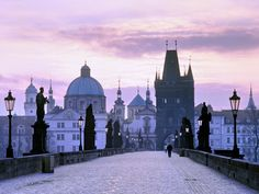 Sunrise over Charles Bridge, Prague Czech Republic