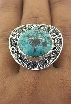 Sz 6 7 8 9 10 Turquoise Handmade Bali 925 Sterling Silver Ring R01PR L5483