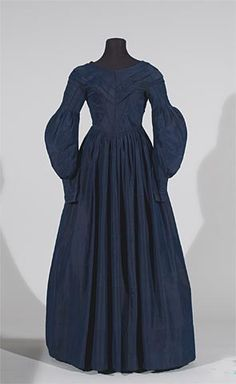 Dark blue taffeta dress, dated c. 1835 (I would date it to be no earlier than 1836 or 37 though, based on sleeve style), North American, University of Alberta Museums collection: 1971.7.1.