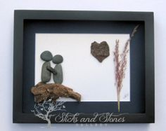 Christmas Gift for Couple Unique Couple and Dog by SticksnStone