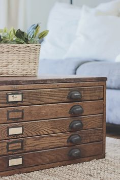 A durable zinc top storage unit with 3 double drawers from garden repurposed blueprint cabinet coffee table see how this antique blueprint file cabinet gets transformed into a beautiful coffee table malvernweather Choice Image