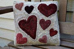 Primitive Hooked Rug Valentine Heart Pillow ~ Folk Art ~ #NaivePrimitive #MavisButterfield