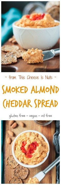 Smoked Almond Cheddar Spread - a delicious and super easy vegan cheddar cheese spread. Only 5 ingredients and made all in the food processor. Spread it on crackers, use it as a sandwich spread, dip fresh fruits and veggies in it - you're gonna love this smoky spread! Gluten free, oil free, dairy free, and vegan! via @veggieinspired