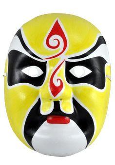 Beijing Opera Mask, Chinese Opera Mask, Costume Mask, Face Mask, Yellow Mask,