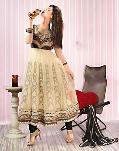 Aesthetic Cream And Black Salwar Kameez. @ $111.94 <3 Buy Now - http://www.gravity-fashion.com/10420-aesthetic-cream-and-black-salwar-kameez.html <3