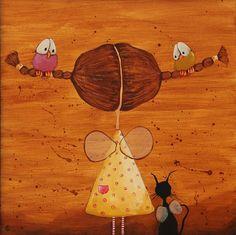 The Birds Love My Hair Painting - Lucia Stewart
