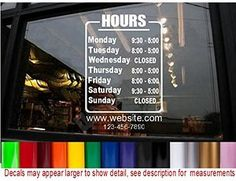 StickerLoaf Brand STORE HOURS NAME CUSTOM WINDOW DECAL BUSINESS SHOP Storefront VINYL DOOR SIGN COMPANY Bakery Cafe restaurant studio salon garage